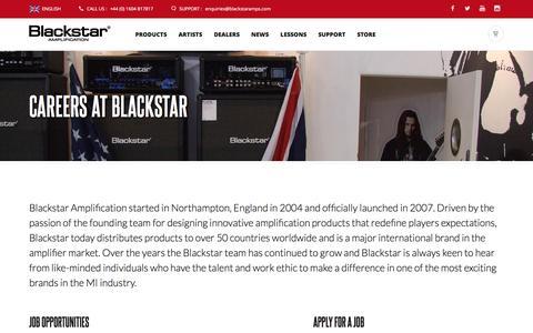 Screenshot of Jobs Page blackstaramps.com - Blackstar Careers | Jobs, Recruitment  | Blackstar Amplification - captured Oct. 25, 2016