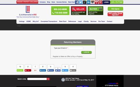 Screenshot of Login Page lichtensteinre.com - Login - LichtensteinRE - captured May 18, 2017