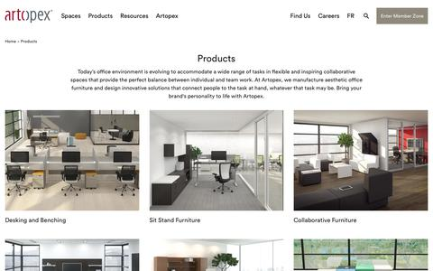 Screenshot of Products Page artopex.com - Workspace solutions | Artopex - captured April 14, 2018