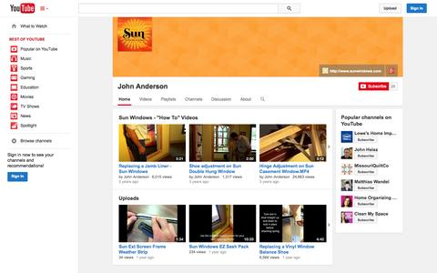 Screenshot of YouTube Page youtube.com - John Anderson  - YouTube - captured Oct. 26, 2014