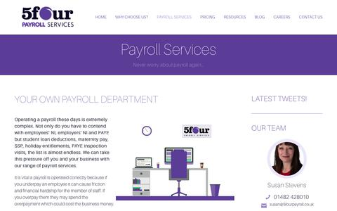 Screenshot of Services Page 5fourpayroll.co.uk - Payroll Services Hull - 5four Payroll - captured Oct. 20, 2018