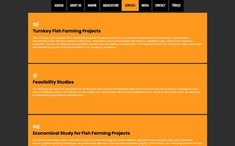 Screenshot of Services Page asaquaculture.com - SERVICES | Izmir, İzmir, Turkey | ASAKUA - captured Oct. 2, 2018