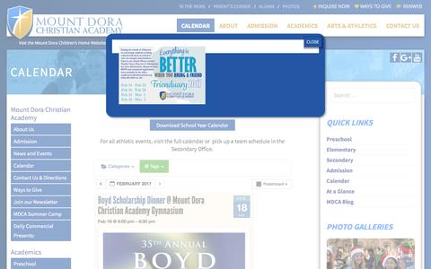 Screenshot of Support Page mdcacademy.org - Calendar - Mount Dora Christian Academy - captured Feb. 10, 2017
