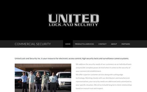 Screenshot of Home Page unitedlockandsecurity.com - COMMERCIAL SECURITY - by Starfire Web Development - captured Feb. 16, 2016