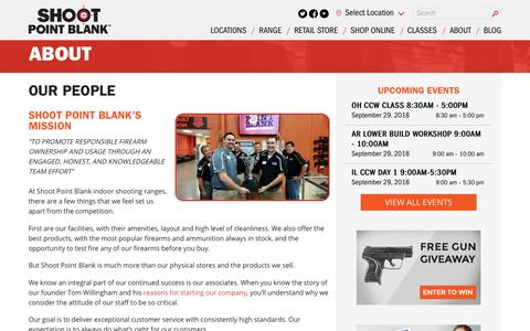 Screenshot of Team Page shootpointblank.com - Our People | Indoor Shooting Range & Gun Shop - captured Sept. 28, 2018