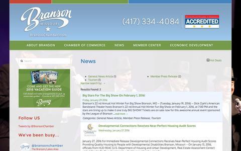 Screenshot of Press Page bransonchamber.com - News - Branson Area Lake Chamber of Commerce - captured Feb. 8, 2016