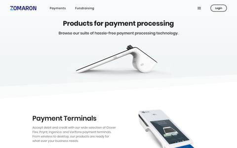 Screenshot of Products Page zomaron.com - Products for Payment Processing | Zomaron Merchant Services - captured Nov. 7, 2018