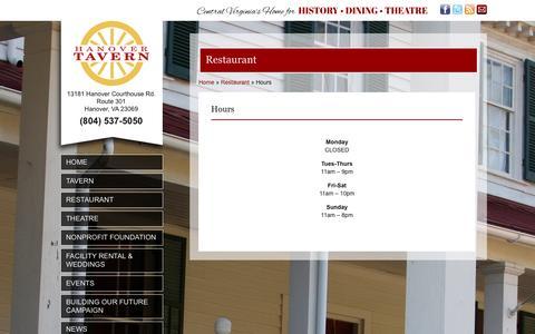 Screenshot of Hours Page hanovertavern.org - Hours - Hanover TavernHanover Tavern - captured Jan. 25, 2016