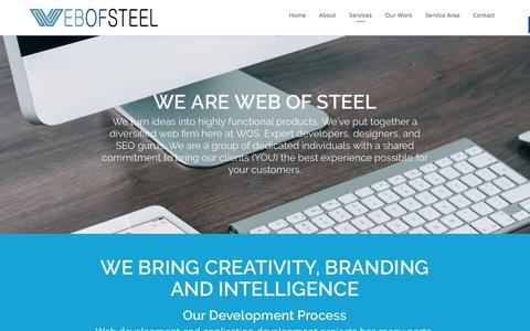Screenshot of Services Page webofsteel.net - Services | St. Augustine Web Design | Development, SEO - captured March 8, 2016