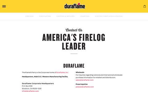 Screenshot of Contact Page duraflame.com - Duraflame | Contact Us - captured Oct. 9, 2018