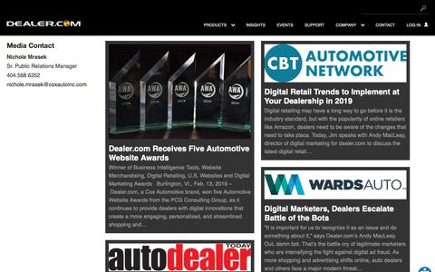 Screenshot of Press Page dealer.com - Company News Archive - Dealer.com - captured April 2, 2019