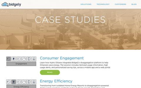 Screenshot of Case Studies Page bidgely.com - Case Studies – Bidgely - captured Jan. 30, 2019