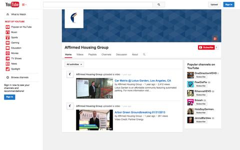 Screenshot of YouTube Page youtube.com - Affirmed Housing Group  - YouTube - captured Oct. 23, 2014