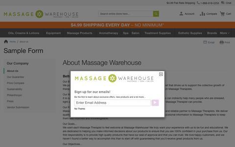 Screenshot of About Page massagewarehouse.com - Massage Equipment Supplies - captured Dec. 28, 2019
