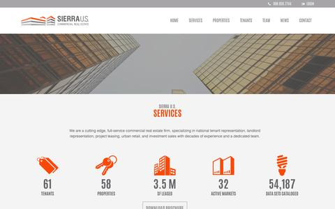 Screenshot of Services Page sierraus.com - Sierra U.S. - Commercial Real Estate - captured Nov. 16, 2016