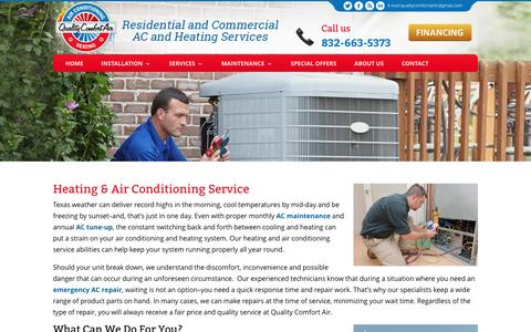 Screenshot of Services Page comfortairconditioningheat.com - Heating & Air Conditioning Service | Quality Comfort Air - captured Nov. 8, 2016