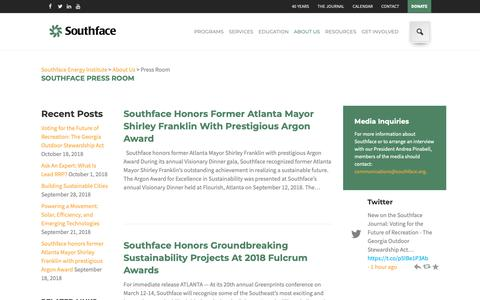 Screenshot of Press Page southface.org - Press Room - Southface Energy Institute - captured Oct. 20, 2018