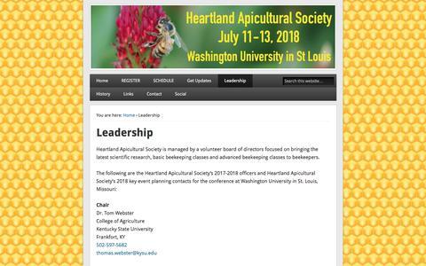 Screenshot of Team Page heartlandbees.org - Leadership - HAS - captured July 3, 2018