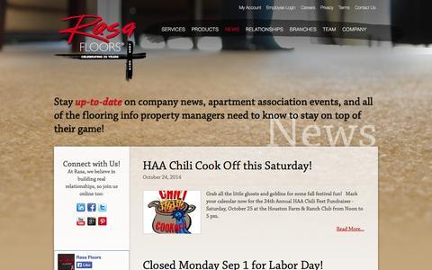 Screenshot of Press Page rasafloors.com - News | Rasa Floors - captured Oct. 26, 2014