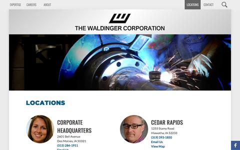Screenshot of Locations Page waldinger.com - Full-service locations throughout the Midwest, beyond - captured Oct. 23, 2017