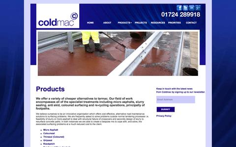 Screenshot of Products Page coldmac.co.uk - Coldmac - Products - captured Nov. 8, 2016