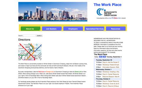 Screenshot of Maps & Directions Page theworkplace.org - Directions - captured Sept. 30, 2014
