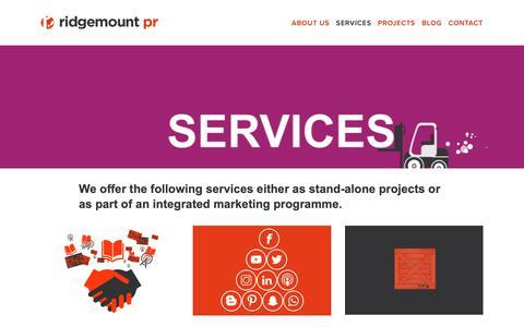 Screenshot of Services Page ridgemountpr.co.uk - Services — Ridgemount PR - captured Nov. 19, 2018