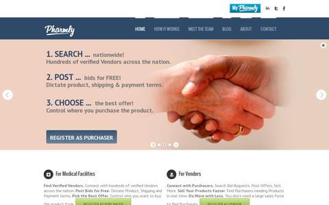 Screenshot of Home Page pharmly.com - Pharmly - captured July 17, 2014