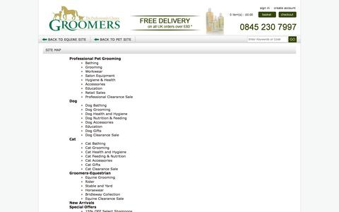 Screenshot of Site Map Page groomers-online.com - Dog grooming, horse grooming supplies, dog tables, grooming shampoo, horse grooming shampoo UK - captured Sept. 19, 2014