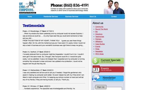 Screenshot of Testimonials Page wecarecomputers.com - We Care Computers, LLC   Testimonials - captured Oct. 7, 2014