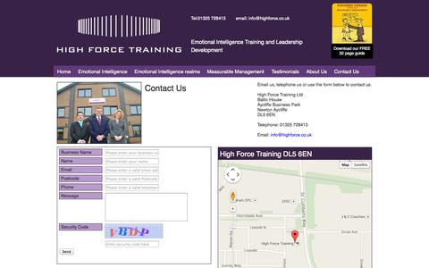 Screenshot of Privacy Page Contact Page Terms Page highforce.co.uk - About Highforce training - captured Oct. 23, 2014