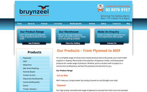 Screenshot of Products Page bruynzeel.com.au - Plywood, Timber & Wood Panel Products - Sydney | Bruynzeel - captured Oct. 11, 2017