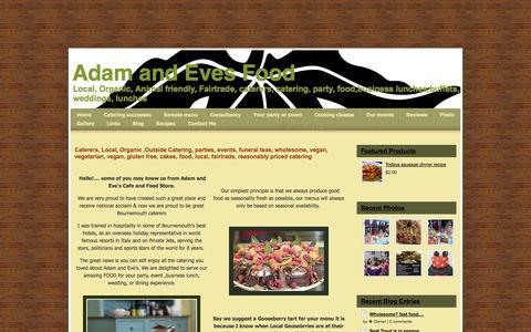Screenshot of webs.com - Home - Adam and Eves Food - captured Oct. 10, 2014