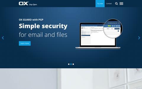 Screenshot of Home Page open-xchange.com - Open-Xchange | Home - captured Dec. 2, 2016