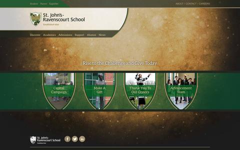 Screenshot of Support Page sjr.mb.ca - Support-Give - St. John's-Ravenscourt School - captured Oct. 7, 2014