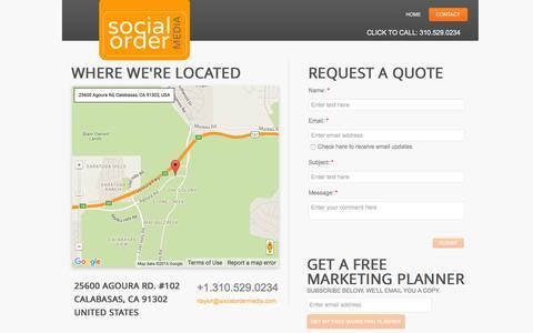 Screenshot of Contact Page socialordermedia.com - Contact - captured Jan. 11, 2016