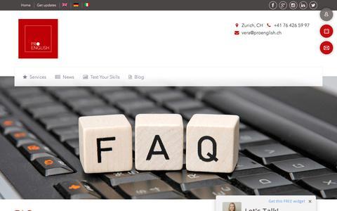 Screenshot of FAQ Page proenglish.ch - ProEnglishFAQ - captured Sept. 5, 2017