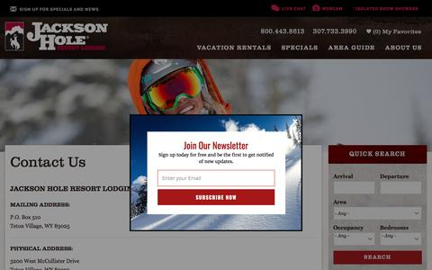 Screenshot of Contact Page jhrl.com - Contact Us | Jackson Hole Resort Lodging - captured April 11, 2017