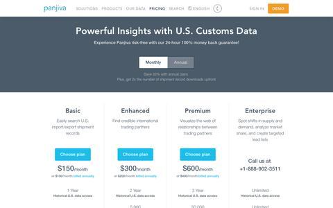 Screenshot of Pricing Page panjiva.com - Plans and Pricing – Powerful Insights with U.S. Customs Data — Panjiva - captured May 9, 2017