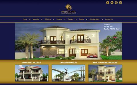 Screenshot of Home Page prideindia.com - Pride India  | Constructions - captured Sept. 22, 2014