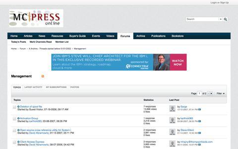 Screenshot of Team Page mcpressonline.com - Management - MC Press Online Forums - captured June 30, 2017