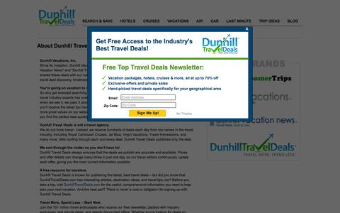 Screenshot of About Page dunhilltraveldeals.com - About Us | Dunhill Travel Deals - captured Oct. 21, 2015