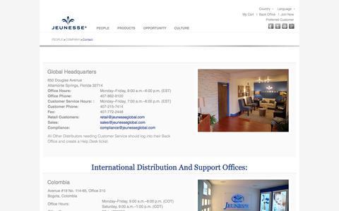 Screenshot of Contact Page jeunesseglobal.com - Jeunesse Contact - captured Sept. 18, 2014