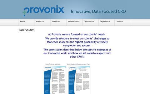 Screenshot of Case Studies Page provonix.com - Case Studies - captured Sept. 30, 2014