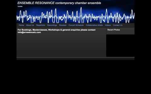 Screenshot of Contact Page ernewmusic.com - ENSEMBLE RESONANCE -  contemporary chamber ensemble - Contact Us - captured Nov. 28, 2018