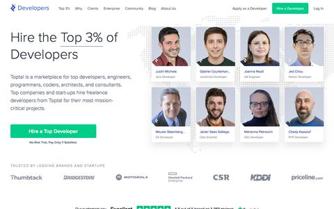 Screenshot of Developers Page toptal.com - Hire Freelance Developers from the Top 3% - Toptal® - captured Feb. 5, 2020