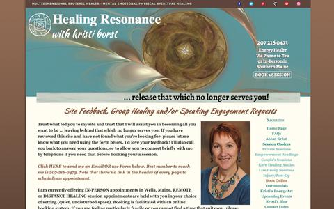 Screenshot of Contact Page healing-resonance.info - Healing Resonance Contact Form - captured Nov. 26, 2018