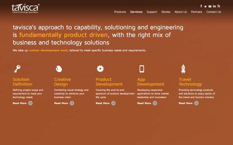 Screenshot of Services Page tavisca.com - Travel Software App Development, Marketing, Designing & Technology Services   tavisca - captured Nov. 3, 2014