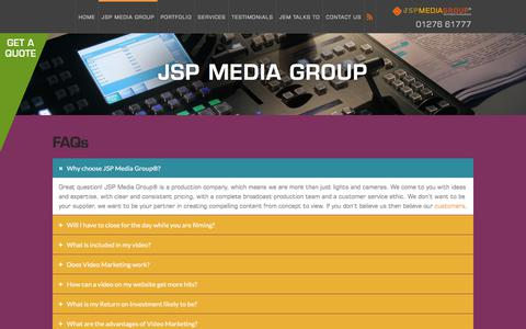 Screenshot of FAQ Page jspmediagroup.com - FAQs - JSP Media Group - captured July 27, 2018