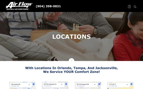 Screenshot of Locations Page airflowdesigns.com - AirFlow Design AC Repair Offices in Florida   Our Locations - Air Flow Designs - captured May 29, 2017